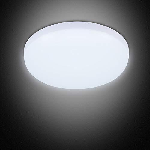 Combuh Plafoniera LED Impermeabile IP56 30W 2400Lm Facile da Installare Adatto per Salotto, Bagno, Ufficio, Portico Esterno, Garage-Freddo Bianco 6000K Rotondo Ø25Cm