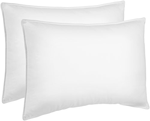 Amazon Basics Down-Alternative Pillows for Stomach and Back Sleepers - 2-Pack, Soft, Standard