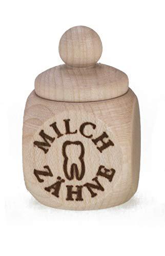 Milchzahndose Zahndose aus Holz mit Schraubverschluss Kinder Zahnbox für Milchzähne zur Aufbewahrung Zahnfee