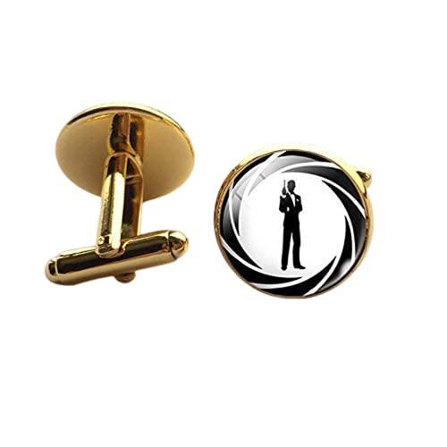 Herren-Manschettenknöpfe, klassisch, James Bond 007, versilbert