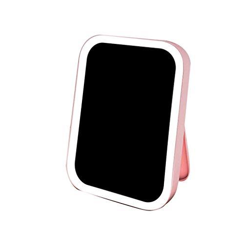 Espejo de escritorio con interruptor de pantalla táctil recargable con luz portátil, apto para estudiantes femeninas, dormitorio plegable espejo de maquillaje ampliable (color: rosa)