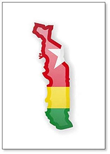Kühlschrankmagnet Togo Flagge & Umrisse des Landes, Magnet