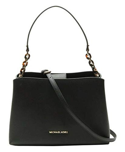 """Saffiano leather with gold tone hardware. Approximate measurement 12.5""""(L) X 8.5""""(H) X 5""""(D) Shoulder strap with 9"""" drop; Comes with Adjustable and Removable Shoulder Strap Interior Center zip compartment, 2 open slip pockets and 1 side zip pocket Br..."""