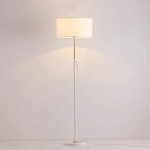 GLXLSBZ Lámpara de pie elevable, lámpara de Tela de Hierro Forjado Negro/Blanco con LED Creativo nórdico, Sala de Estar, sofá, lámpara Vertical, mesita de Noche, lámpara de pie para Dormitorio