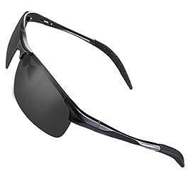 CHEREEKI Sunglasses, Polarized Sunglasses for Men Women with UV400 Protection for Driving Sports Fishing Golf (Black)