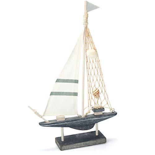 com-four® Maritimes Deko Segelschiff mit Muscheln - Boot aus Holz mit Leinen-Segel - nautische Badezimmer Deko [Farbauswahl variiert] (01 Stück - Holzsegelschiff 34cm)
