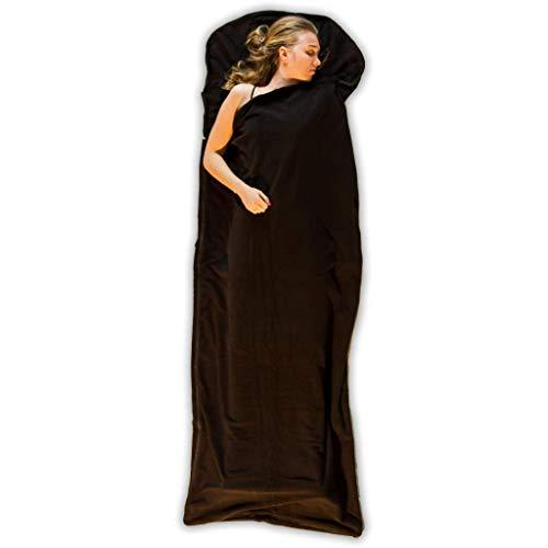 LOWLAND OUTDOOR® Sac de Couchage en Polaire - Noir - 220 x 80 cm