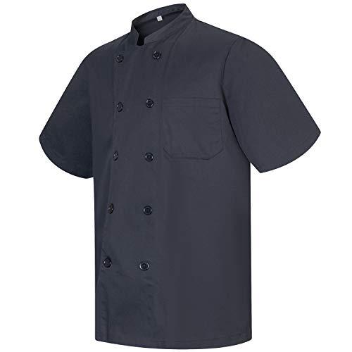 MISEMIYA - Chaqueta Cocinero Hombre Mangas Cortas MARMINTÓN, SOLLASTRE, GUISANDERO, ADOBADOR, Salsero, Ref.8421 - XXL, Negro