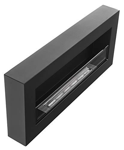 Biocamino Nice-House Box 90 x 40 cm con pannello in vetro 900 x 400 mm camino da parete bio-etanolo nero un camino a forma di scatola da appendere alla parete.