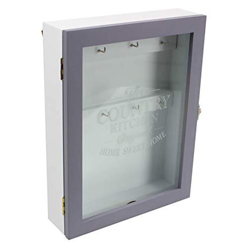 Lesser & Pavey The Country Kitchen - Armadietto portachiavi in legno, con vetro trasparente, 20 x 6 x 26 cm, colore: grigio