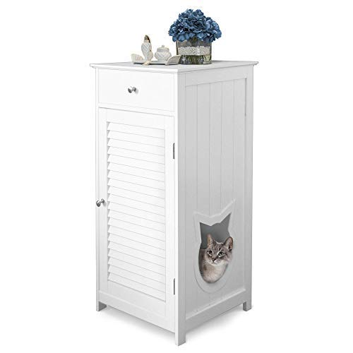Penn-Plax Cat Walk Furniture: Contemporary Home Cat Litter Enclosure - Storage Drawer, Inner Shelf, and Shutter Style Door - White