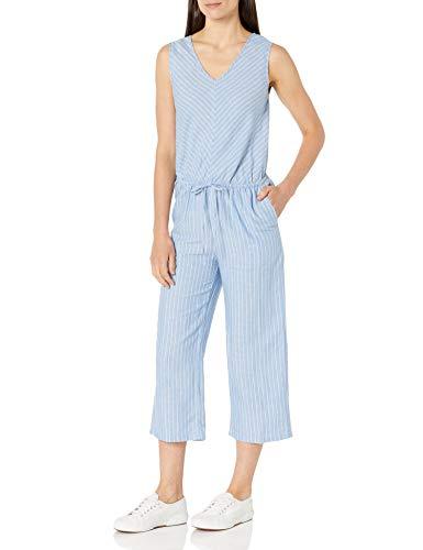Amazon Essentials Women's Sleeveless Linen Jumpsuit, French Blue Pinstripe, 10