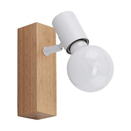 EGLO Wandlampe Townshend 3, 1 flammige Vintage Wandleuchte im Industrial Design, Retro Lampe aus Stahl und Holz, Farbe: Weiß, braun, Fassung: E27