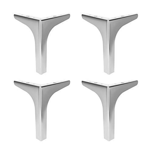 1 juego de 4 patas de muebles, patas de metal para muebles, pies triangulares intercambiables, aptos para armarios, sofás, armarios de pie, con accesorios de montaje (15 cm, plata).