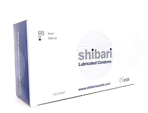 Shibari Premium Lubricated Latex Condoms, 100 Count Bulk Condoms Box