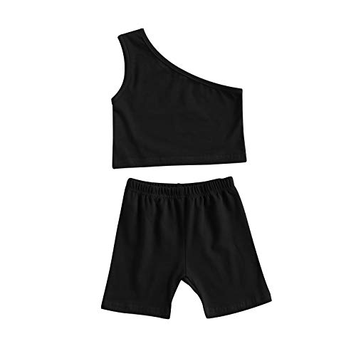 Toddler Baby Girls Clothes One Shoulder Solid Color Tank Top Vest+Shorts Set 2Pcs Casual Summer Outfit (Black , 3-4T )