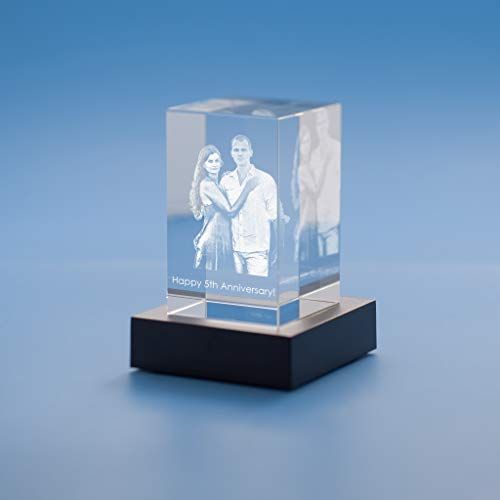 Tower Crystal, 3D Engraved - Small with Black Base