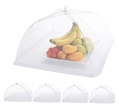 ilauke 5pcs Cloche Alimentaire Pliable en Maille Housse Couverture de Nourriture à Pop-up Anti-Mouches Moustiques Pique-Nique-43cm