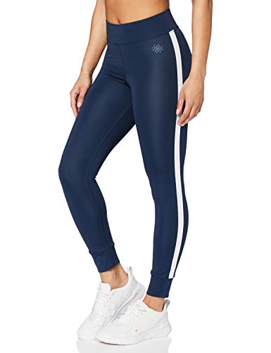 Marca Amazon - AURIQUE Mallas de Entrenamiento 7/8 con Banda Lateral Mujer, Azul (Dress Blue), 36, Label:XS
