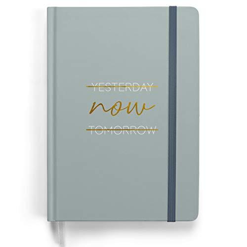 Premium Bullet Journal - Design Blau - Notizbuch A5 gepunktet | 192 Seiten dickes 120g/m² dotted Papier | mit Punkteraster, Dreieckstasche, Anleitung und mehr