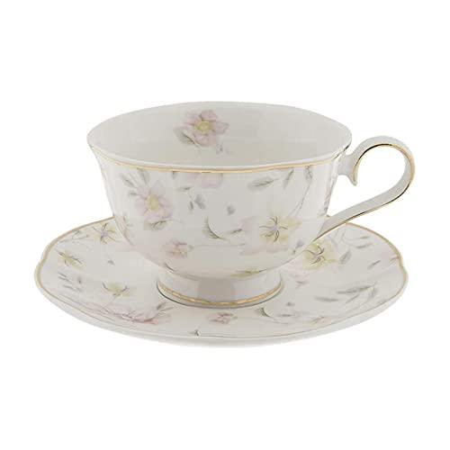 Clayre & Eef TWFKS-2 Kaffeetasse mit untertasse Blumenmotiv Ø 15 * 7 cm / 0.25 L