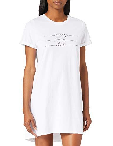 Schiesser Damen Sleepshirt 1/2 Arm, 85cm Nachthemd, Weiss, 34