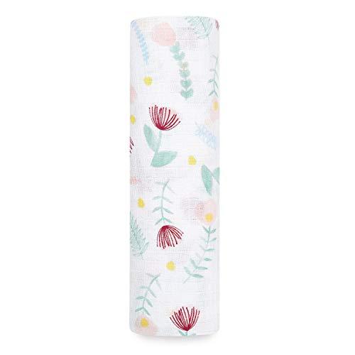 aden + anais™ essentials - Maxi-lange pour bébé en mousseline 100 % coton - Lange ultradoux et léger - Respirant et naturel - Multi usages - Imprimé Floral Fauna - Garçon - Fille - 112 cm x 112 cm