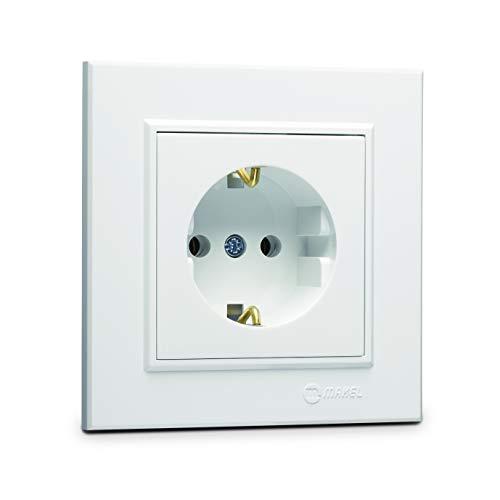 Karea Schuko stopcontact + frame, VDE-gecertificeerd, inbouw, in wit