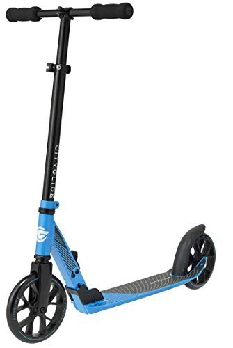 CITYGLIDE C200 Kick Scooter for Adults, Teens - Foldable, Lightweight, Adjustable - Carries Heavy Adults 220LB Max Load (Blue)