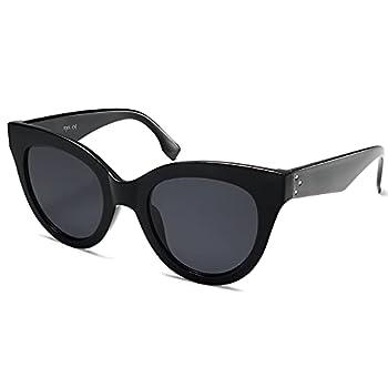 SOJOS Retro Vintage Oversized Cateye Women Sunglasses Designer Shades HOLIDAY SJ2074 Black/Grey