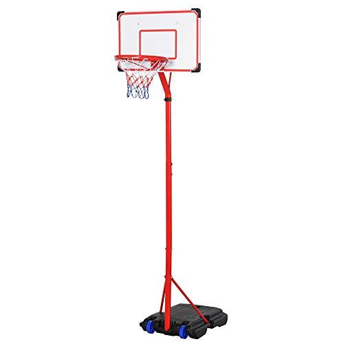 homcom Canestro Basket per Bambini Portatile con Tabellone Bianco, Piantana, 2 Ruote e Altezza Regolabile 216-261.5cm