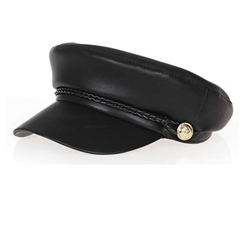 Eohak Kids Cabbie Flat Fisherman-Sailor Driver Newsboy Hats Pu Leather (Black,Head Circumference 54cm fit for 5-10 Year)