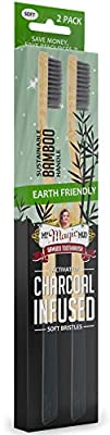 My Magic Mud - Earth-Friendly Bamboo Toothbrush, Activated Charcoal Infused, Sustainably Produced, Soft Bristles, 2 Pack