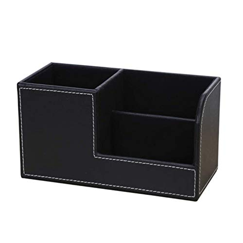 【SAMDVM】 PUレザー 卓上収納ボックス 3格 リモコンラッ ク ペン立て 名刺ホルダー 卓上小物 収納(黒)