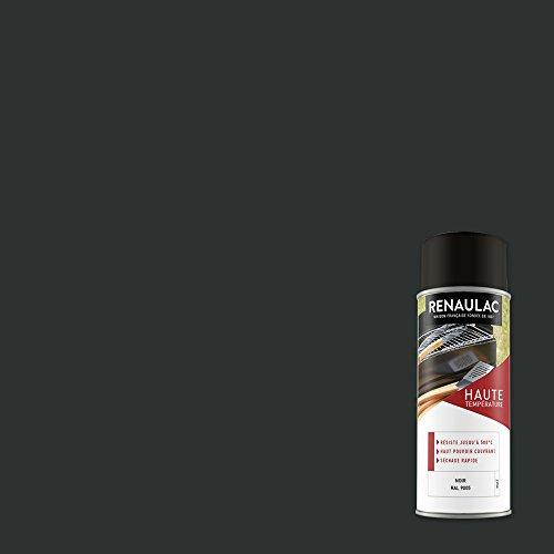 Renaulac Peinture Aérosol Déco spéciale Hautes températures - Noir mat - 400 ml(Ref: C-REAERHT-0001-0L4)