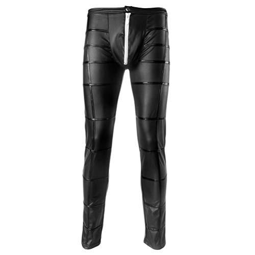 Milisten 1 Paar Sex Lederhosen Stilvolle Schlanke Sexy Mode Stretchy Mann Lange Hosen Nigth Club Wear Zipper Pouch Hosen Herrenhosen