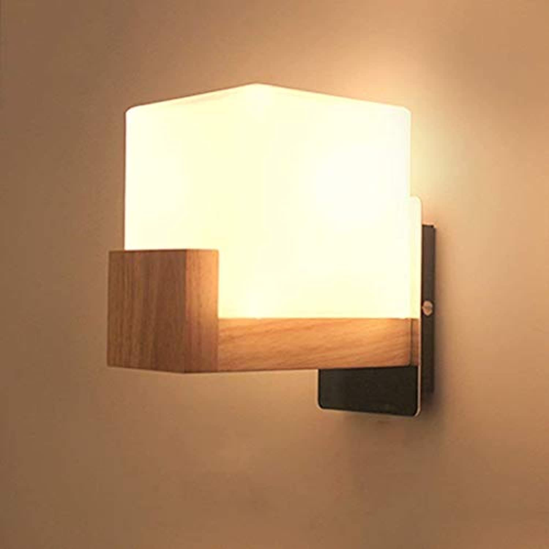 Oudan Moderne, minimalistische Schlafzimmer Glas Wandlampe Holz Lampe Tischlampe Creative Night Lounge Studien Balkon Treppenhaus des Lichts (Farbe   -, Gre   -)