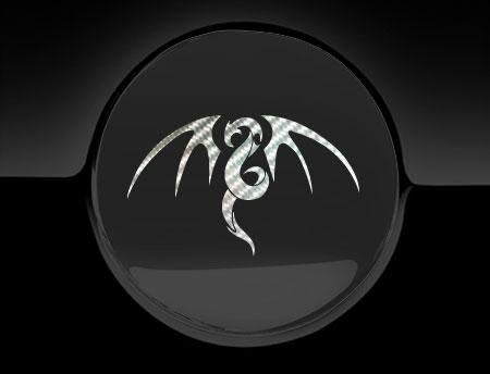 Fuel Cap Stickers Tribal Dragon Tankdeckel Aufkleber, Silber Carbon