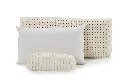 CLOEN Almohada Latex | 100% de látex Natural | Orificios Ultra Transpirables | Termorreguladora | Antiácaros e Hipoalergénica | Cervical | Fabricación Nacional | Model Latex Pillow (75 cm)