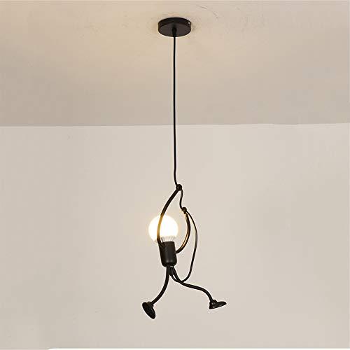 yuiopps Vintage Industrial – Lámpara Colgante de Hierro pequeño Hombre araña lámpara Colgante lámpara Colgante para Comedor salón hogar Cocina Bar café