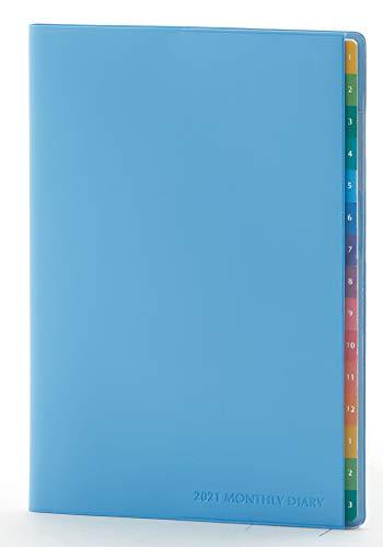 レイメイ藤井 カラーインデックスダイアリー 手帳 2021年 マンスリー ブルー RFD2150A 2020年12月始まり B6