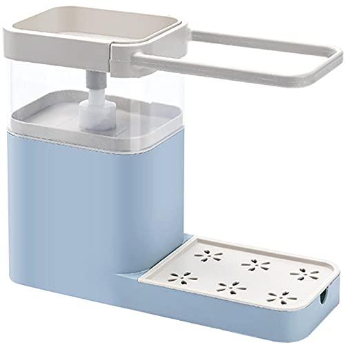 Catnot Dispensador de jabón para platos de cocina + soporte de esponja – Dispensador de jabón de platos de alta calidad – Recambio instantáneo de estante, duradero, azul