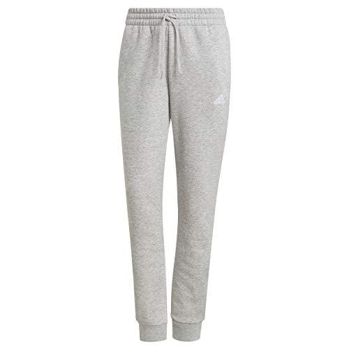 adidas Essentials Slim Tapered Cuffed, Pantaloni della Tuta Donna, Medio Grigio Melange/Bianco, S