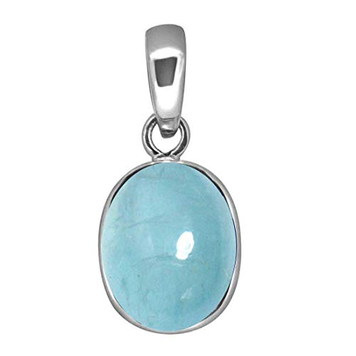 Colgante con aguamarina ovalada auténtica de 3 quilates y medallón de plata de ley, piedra natal, color azul