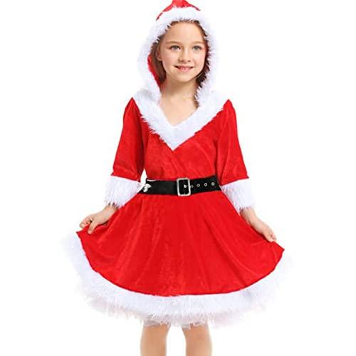 Ksruee Vestido de Navidad para niñas, Disfraz de Sra. Claus para niñas de 4 a 12 años