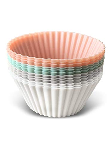 The Kind Home Pastel Silicone Baking Cups - Pack of 12 - Reusable Cupcake and Muffin Liners