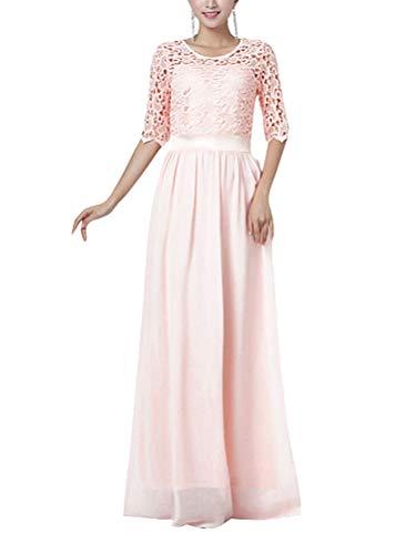 Minetom Elegant Festliches Kleid Langes Abendkleid Brautjungfernkleid Cocktailkleid Ballkleid Elegant 3/4 Ärmel Spitze Maxikleid Rosa 40