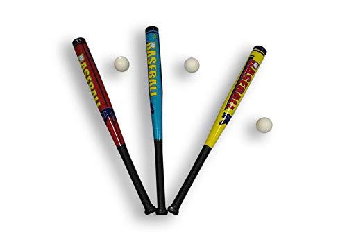Baseballschläger 70cm Soft aus Kunststoff inklusive Ball Baseball Schläger Sport Kinder Erwachsen (Gelb)