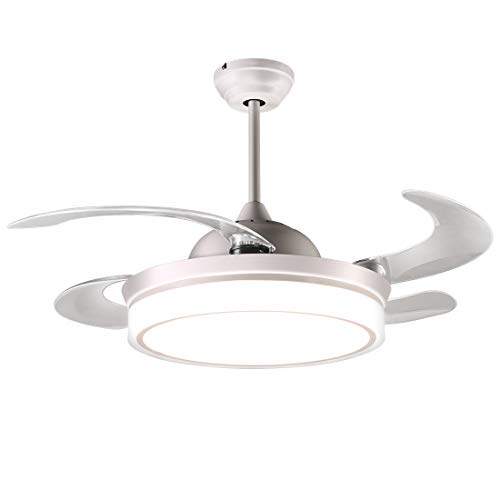 reiga 44-inch White Modern Ceiling Fan Retractable Blades with Dimmable LED Lights, Remote...