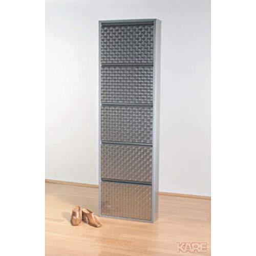 Kare Design Schuhkipper Carusa, Metall, schmal, klein, Silber, 5 Klappen, Flurmöbel, Schuhablage, 49275, (H/B/T) 170x50x14cm